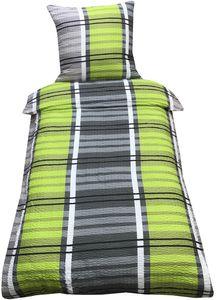Bettwäsche 135x200 cm Seersucker grün grau kariert mit Reißverschluss, 2-tlg