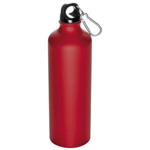 Aluminium Trinkflasche mit Karabinerhaken / Sportflasche / 800ml / Farbe: rot