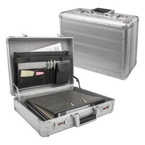 Check.In Aktenkoffer Aluminium Attache-Koffer Alu Silber - Zahlenschloss abschließbar
