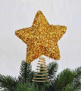 Christbaumspitze Stern Metall Glitter 18 x 14 cm Glitzer Weihnachtsbaum Spitze, Farbe:Gold