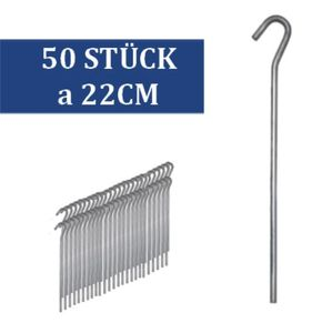 50 Stück Zeltheringe 22 cm aus verzinktem Stahl Zelthering Erdanker Erdnägel