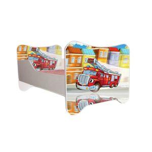 Autobett Feuerwehr inkl. Rollrost und Matratze 70*140 rot weiß SOS Truck Kinderbett Kinderzimmer Rennbett Bett Einzelbett Spielbett