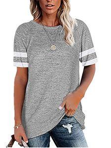 Lose T-Shirt Für Damen Lässiges Kurzarm-Oberteil Mit Rundhalsausschnitt,Farbe: Grau,Größe:L