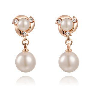 Perlen Ohringe Ohrstecker Pearl Perle Damen Perlenohrstecker 18 Karat vergoldet  rosègold-weiß