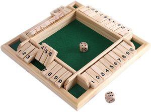 Deluxe 4-Spieler Shut The Box Holz Tisch Spiel Klassisch Würfelspiel Board Spielzeug