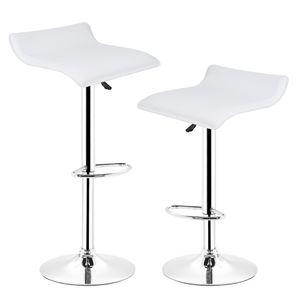 2er-set Barhocker höhenverstellbar, 360°drehbar ,mit Fußstütze  | Weiß