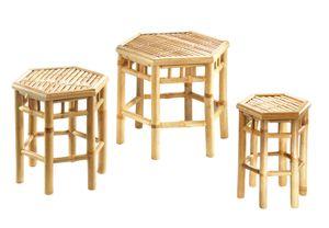 Blumenhocker 6-eckig Bambus Set mit drei Größen