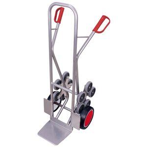 VARIOfit Aluminium Treppenkarre 200kg Tragkraft gerade Streben mit 2 fünfarmigen Radsternen Vollgummibereifung