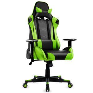 Gaming Stuhl, Racing Gamer Stuhl, Bürostuhl, Ergonomischer höhenverstellbar Schreibtischstuhl, Grün