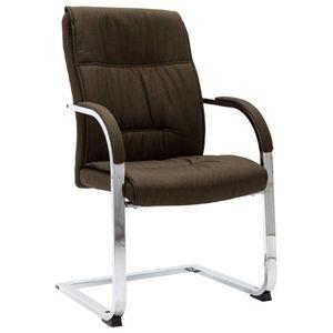 Bürostuhl Freischwinger Schreibtischstuhl Chefsessel Braun Stoff