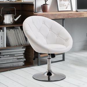 HOMCOM Arbeitshocker Drehhocker Drehstuhl Bürostuhl verchromt höhenverstellbar, PU+Stahl, Schwarz/Weiß, 68x59x80-92cm (Weiß)