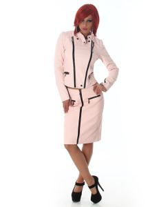 Kombi Leder Look Business-Outfit, Farbe: Altrosa, Größe: L