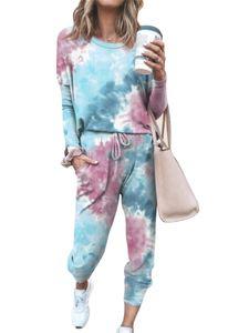 Damen Trainingsanzug Set Pullover T-Shirts Sportanzüge Sport Lounging Pyjamas Set,Farbe: Blau,Größe:M