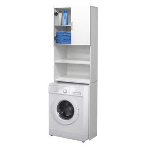 ECD Germany Waschmaschinenschrank 190 x 62,5 cm mit 2 T?ren Wei? Badezimmerschrank f?r Waschmaschine Trockner - Hochschrank Badm?bel Badregal Badschrank Umbauschrank ?berbau Waschmaschinen?berbau