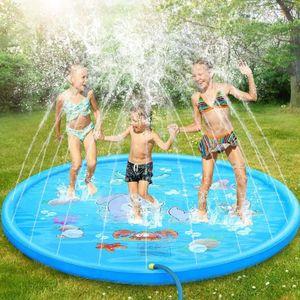 Splash Pad, 170cm Sprinkler Play Matte Sprinkler Wasser-Spielmatte, Summer Outdoor Garden Essential Fun Toy, Blau