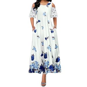 Damen Mode Spitze Patchwork Ärmel Blumendruck Großer Saum Party Langes Kleid