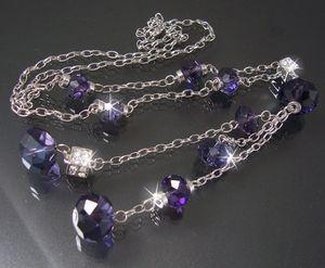 K667# Y-Kette silber Perlen facettiert transparent lila Würfel Strass