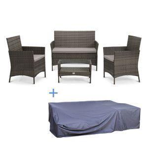 SVITA Brooklyn Polyrattan Sitzgruppe Lounge Gartenmöbel Set grau Abdeckplane