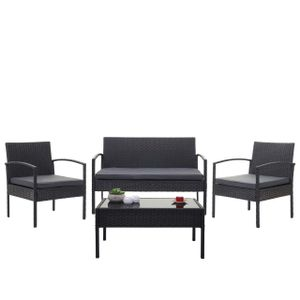 Poly-Rattan Garnitur HWC-F56, Balkon-/Garten-/Lounge-Set Sitzgruppe  schwarz, Kissen dunkelgrau