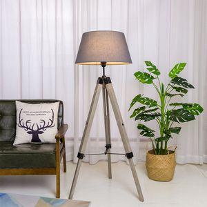 Tripod Stehlampe Dreibein Stehleuchte, Wohnzimmerlampe, Standleuchte für Wohnzimmer, Schlafzimmer E27 - Grau