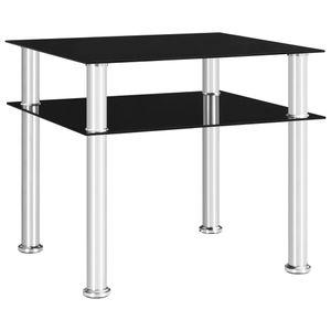 Möbel® Ziertisch Beistelltisch Schwarz 45x50x45 cm Hartglas