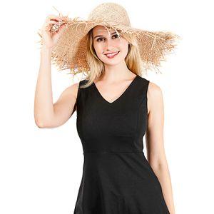 Boho Frauen Strohhut Bowknot Breite grosse Krempe Faltbare ausgefranste Fransen Elegante Sonne Sommerferien Strandkappe