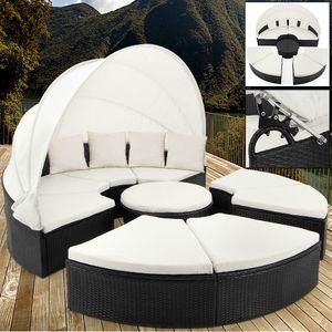 Casaria Poly Rattan XXL Sonneninsel 230cm klappbares Sonnendach 7cm Auflagen 4 Kissen Sonnenliege Gartenliege Sitzgruppe Lounge , Farbe:schwarz