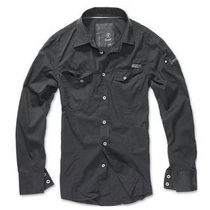 Brandit - SlimFit Shirt Schwarz Hemd Outdoor Tarnmuster Größe L
