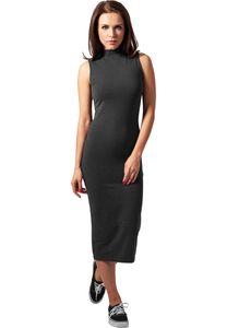 Urban Classics Kleid Ladies Stretch Jersey Turtleneck Dress Charcoal-S