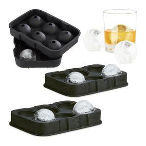 relaxdays 3x Eiskugelformen Silikon Eiskugel Portionierer Eiswürfelbehälter Eiswürfelform