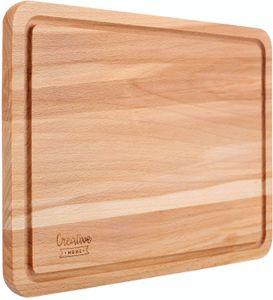 Creative Home Schneidebrett aus Natürlichem Buchen-Holz   30,5 x 22,5 x 1,5 cm   mit Saftrille   Umkehrbar   Her-Abdeckplatte   Ideal für Brot, Fleisch, Gemüse, Käse & Schinken