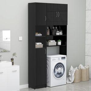 Waschmaschinenschrank-Set Schwarz Spanplatte