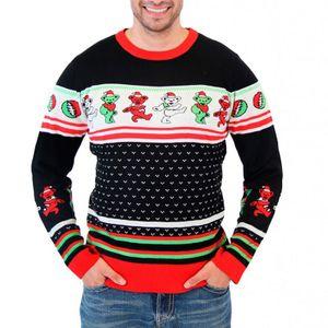 Unisex Weihnachtspullover Weihnachtsstrickjacke Oberteile Weihnachtsüberbrücker Sweatshirt, Schwarz,2XL