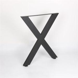 Tischkufen Tischgestell X Design Tischbeine 2er Set Stahl Tisch Kufen (Schwarz) 371004