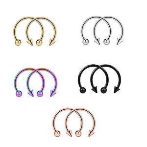 10 Stück 16g Nase Septum Hufeisen Hoop Ohrring Tragus Lippe Piercing Ring 6mm Mehrfarbig