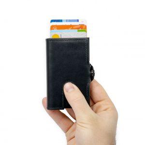 Silvergear, Leder Kartenetui, Slim Wallet, Geldbörse, Portmonnaie, mit RFID Blocker Anti Skim Schutz, Für Kreditkarten, Girokarten und Bargeld - Schwarz