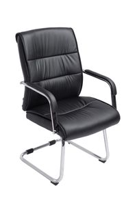 Konferenzstuhl CP605, Freischwinger Besucherstuhl, Kunstleder  schwarz