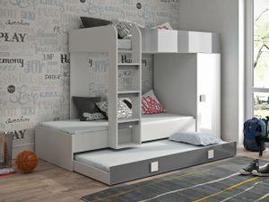 RIFE 2 Hochbett Etagenbett 3 Liegeflächen Kleiderschrank Weiß/Grau 90x200 cm