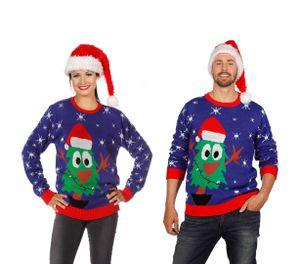 Wilbers Weihnachtspulli in blau mit Tannenbaum  M, XL Weihnachtspulli Gr. M