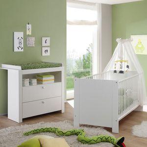 2 tlg. Babyzimmerset Wickelkommode mit Wickelaufsatz Babybett Olivia Weiß