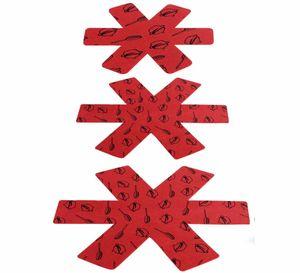 Topf Untersetzer, 12PCS Pfannenschoner, Topfschutz mit 3 Groessen, rutschfest Pfannenschutz, Filzunterlage Topfschoner, Stapelschutz für Pfannen, Töpfe und Schüsseln (Rot)