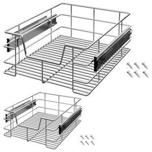 Deuba® 2x Teleskopschublade für 40cm Schrankbreite | Korbauszug Schrankauszug Küchenschublade
