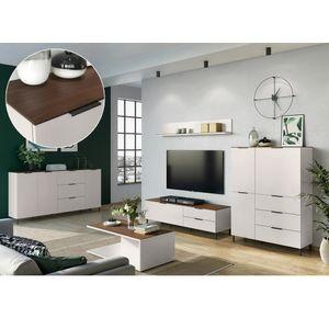 Wohnwand Set mit Sideboard und Couchtisch CHOLET-01 in Kaschmir beige mit Nussbaum Nb, B/H/T ca. 293/170/40 cm