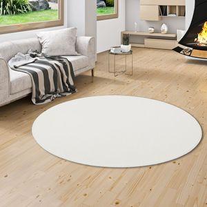 Hochflor Velours Teppich Luna Weiss Rund, Größe:160 cm Rund