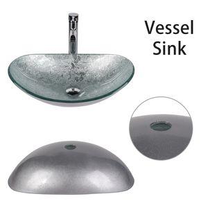 Waschtisch Glas Waschbecken Aufsatzwaschbecken Waschschale Küche Bad Oval  Silber