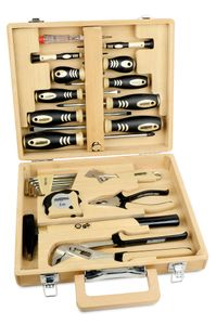 24-teiliger Werkzeugsatz in Bambuskoffer