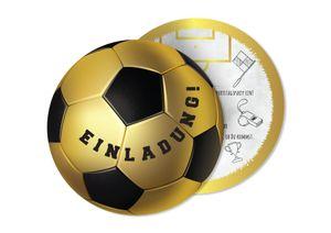 Friendly Fox Fußball Einladung rund - 12 Einladungskarten Fussball zum Kindergeburtstag Junge Mädchen- Geburtstagseinladungen - ideal für kleine Fußball-Fans - goldener Fußball