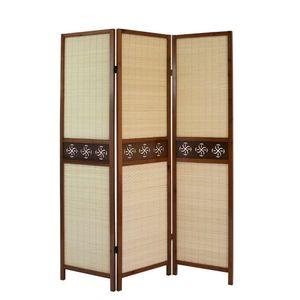Homestyle4u 903, Paravent Raumteiler 3 teilig, Holz Braun, Bambus Natur, Schnitzerei