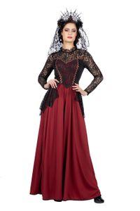 Gothic Lady Damen Kostüm langes Kleid mit Spitze, Größe:46