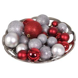 Weihnachtsbaumkugeln 60-teilig Baumschmuck Christbaumkugeln Weihnachtskugeln , Farbe:Rot/Silber